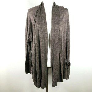 Roots Canada Womens L XL Long Line Thin Brown Open